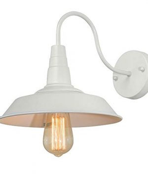 BRIGHTESS W8903 Retro White Wall Sconce Lighting Gooseneck Barn Lights Industrial Vintage Farmhouse Wall Lamp Led Porch Light For Indoor Bathroom Hardwired 2 Packs 0 3 300x360
