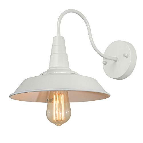 BRIGHTESS W8903 Retro White Wall Sconce Lighting Gooseneck Barn Lights Industrial Vintage Farmhouse Wall Lamp Led Porch Light For Indoor Bathroom Hardwired 2 Packs 0 3