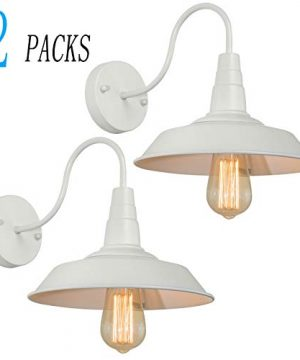BRIGHTESS W8903 Retro White Wall Sconce Lighting Gooseneck Barn Lights Industrial Vintage Farmhouse Wall Lamp Led Porch Light For Indoor Bathroom Hardwired 2 Packs 0 300x360