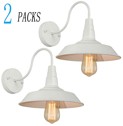 BRIGHTESS W8903 Retro White Wall Sconce Lighting Gooseneck Barn Lights Industrial Vintage Farmhouse Wall Lamp Led Porch Light For Indoor Bathroom Hardwired 2 Packs 0