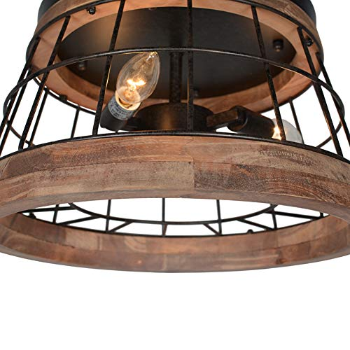 Baiwaiz Round Farmhouse Ceiling Lighting Fixture Metal And Wood Rustic Ceiling Flush Mount Lights Industrial Wire Cage Farmhouse Goals