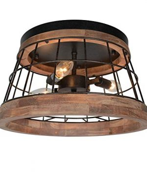 Baiwaiz Round Farmhouse Ceiling Lighting Fixture Metal And Wood Rustic Ceiling Flush Mount Lights Industrial Wire Cage Lighting 3 Lights Edison E12 087 0 300x360