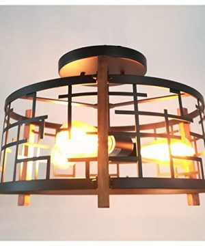 Baiwaiz Round Rustic Semi Flush Mount Light Black Metal And Wood Farmhouse Ceiling Lighting Industrial Wire Cage Light Fixture 3 Lights Edison E26 105 0 1 300x360