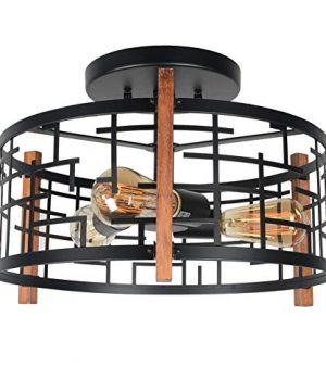 Baiwaiz Round Rustic Semi Flush Mount Light Black Metal And Wood Farmhouse Ceiling Lighting Industrial Wire Cage Light Fixture 3 Lights Edison E26 105 0 300x360