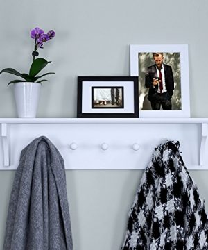 Ballucci Floating Coat And Hat Wall Shelf Rack 5 Pegs Hook 24 White 0 300x360