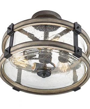 Barrington Anvil Iron And Driftwood Clear Glass Semi Flush Mount Rustic Light 0 300x360
