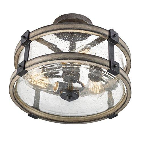 Barrington Anvil Iron And Driftwood Clear Glass Semi Flush Mount Rustic Light 0
