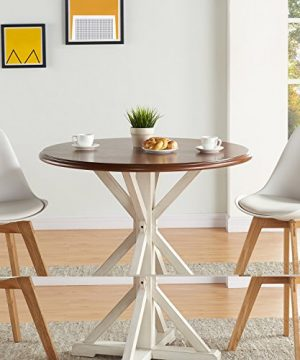 Barrisdale Farmhouse Dining Table Antique White Pedestal Legs W Dark Tobbaco Top 0 1 300x360