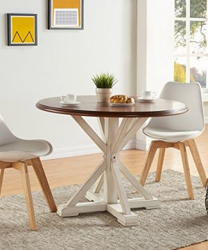 Barrisdale Farmhouse Dining Table Antique White Pedestal Legs W Dark Tobbaco Top 0 300x360