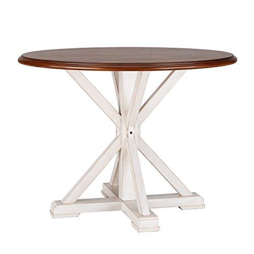 Barrisdale Farmhouse Dining Table Antique White Pedestal Legs W Dark Tobbaco Top 0 4