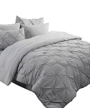 Bedsure 6 Pieces Pinch Pleat Down Alternative Comforter Set Twin Size 68X88 Inches Solid Grey Bed In A Bag Comforter 1 Pillow Sham Flat Sheet Fitted Sheet Bed Skirt 1 Pillowcase 0 300x360