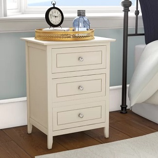 Beige Ovellette 3 Drawer Nightstand