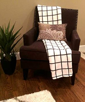 Bertte Microfiber Throw Flannel Fall Utra Cozy Warm Lightweight FleeceThrow For Couch Decorative Plaid Pattern Blanket 50x 60 Black White 0 0 300x360