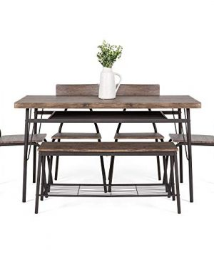 Best Choice Products 6 Piece 55in Wooden Modern Dining Set For Home Kitchen Dining Room WStorage Racks Rectangular Table Bench 4 Chairs Steel Frame Brown 0 0 300x360