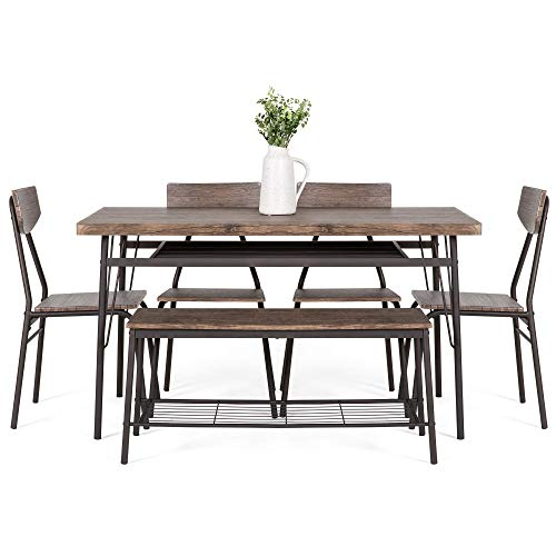 Best Choice Products 6 Piece 55in Wooden Modern Dining Set For Home Kitchen Dining Room WStorage Racks Rectangular Table Bench 4 Chairs Steel Frame Brown 0 0