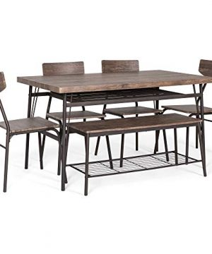 Best Choice Products 6 Piece 55in Wooden Modern Dining Set For Home Kitchen Dining Room WStorage Racks Rectangular Table Bench 4 Chairs Steel Frame Brown 0 1 300x360
