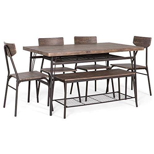 Best Choice Products 6 Piece 55in Wooden Modern Dining Set For Home Kitchen Dining Room WStorage Racks Rectangular Table Bench 4 Chairs Steel Frame Brown 0 1