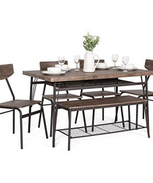 Best Choice Products 6 Piece 55in Wooden Modern Dining Set For Home Kitchen Dining Room WStorage Racks Rectangular Table Bench 4 Chairs Steel Frame Brown 0 300x360