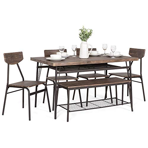 Best Choice Products 6 Piece 55in Wooden Modern Dining Set For Home Kitchen Dining Room WStorage Racks Rectangular Table Bench 4 Chairs Steel Frame Brown 0
