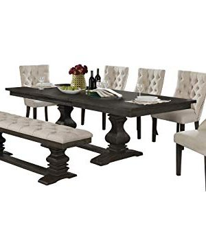 Best Quality Furniture 7 Piece Dining Set Beige 0 300x328