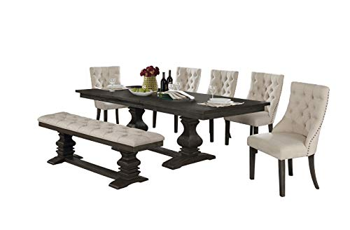 Best Quality Furniture 7 Piece Dining Set Beige 0
