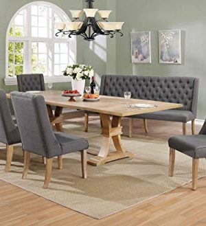 Best Quality Furniture 7pc Dining Set 1 Table 5 Chairs 1 Bench Rustic Dark Gray Farmhouse Goals