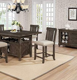 Best Quality Furniture D5 5Pc Counter Height Set 1 Table 4 Chairs Beige Brown Rustic 0 300x312