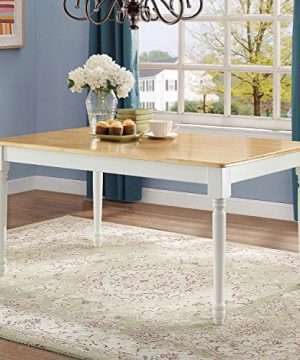 Better Homes And Gardens Autumn Lane Farmhouse Dining Table White And Natural By Better Homes Gardens 0 300x360