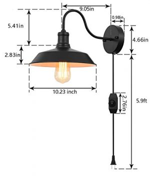 Black Gooseneck Plug In Wall Light Fixture With 59 Ft Cord And Dimmable Switch Wall Lamp Industrial Vintage Farmhouse Wall Sconce Lighting For Bedroom Nightstand Lighting Set Of 2 Pack 0 0 300x360