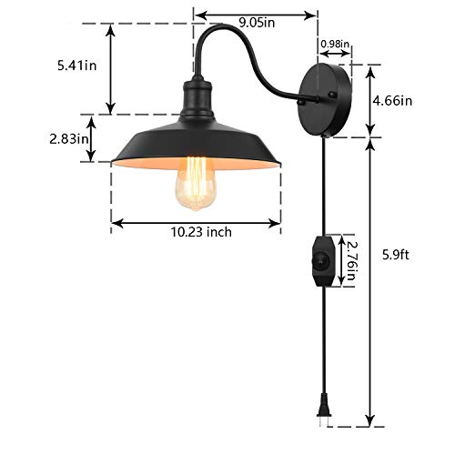 Black Gooseneck Plug In Wall Light Fixture With 59 Ft Cord And Dimmable Switch Wall Lamp Industrial Vintage Farmhouse Wall Sconce Lighting For Bedroom Nightstand Lighting Set Of 2 Pack 0 0