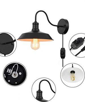 Black Gooseneck Plug In Wall Light Fixture With 59 Ft Cord And Dimmable Switch Wall Lamp Industrial Vintage Farmhouse Wall Sconce Lighting For Bedroom Nightstand Lighting Set Of 2 Pack 0 1 300x360