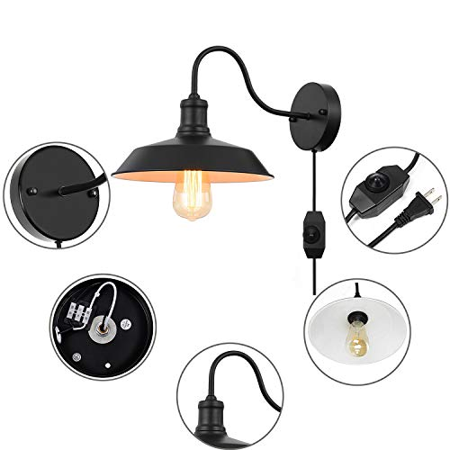 Black Gooseneck Plug In Wall Light Fixture With 59 Ft Cord And Dimmable Switch Wall Lamp Industrial Vintage Farmhouse Wall Sconce Lighting For Bedroom Nightstand Lighting Set Of 2 Pack 0 1