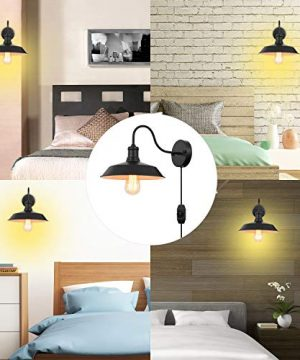 Black Gooseneck Plug In Wall Light Fixture With 59 Ft Cord And Dimmable Switch Wall Lamp Industrial Vintage Farmhouse Wall Sconce Lighting For Bedroom Nightstand Lighting Set Of 2 Pack 0 4 300x360