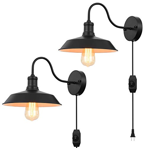 Black Gooseneck Plug In Wall Light Fixture With 59 Ft Cord And Dimmable Switch Wall Lamp Industrial Vintage Farmhouse Wall Sconce Lighting For Bedroom Nightstand Lighting Set Of 2 Pack 0
