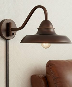 Bowdon Bronze 10H Indoor Plug In Sconce With Edison Bulb Franklin Iron Works 0 300x360