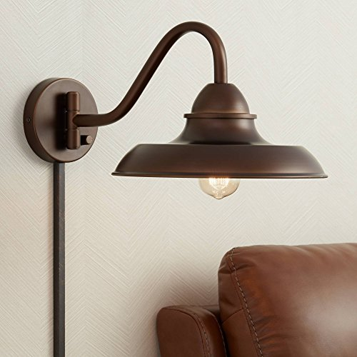 Bowdon Bronze 10H Indoor Plug In Sconce With Edison Bulb Franklin Iron Works 0