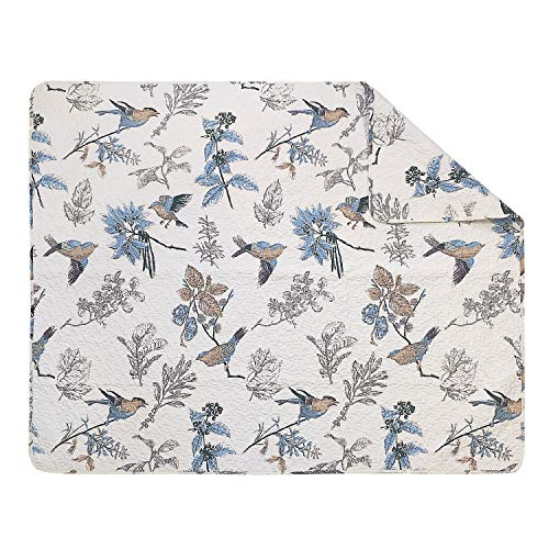 Brandream American Country Quilted Throw Blanket Cotton Birds Printing Throw Quilt 47 X 60 Inch Beige 0 0