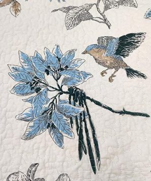 Brandream American Country Quilted Throw Blanket Cotton Birds Printing Throw Quilt 47 X 60 Inch Beige 0 1 300x360
