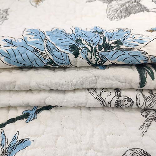 Brandream American Country Quilted Throw Blanket Cotton Birds Printing Throw Quilt 47 X 60 Inch Beige 0 4
