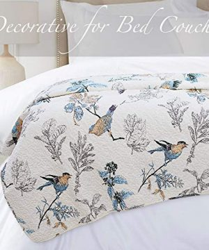 Brandream American Country Quilted Throw Blanket Cotton Birds Printing Throw Quilt 47 X 60 Inch Beige 0 5 300x360