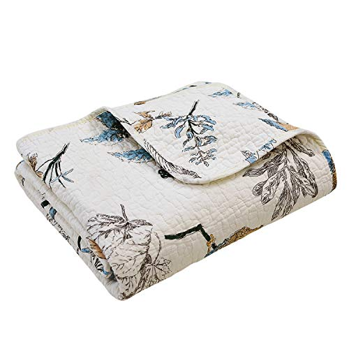 Brandream American Country Quilted Throw Blanket Cotton Birds Printing Throw Quilt 47 X 60 Inch Beige 0