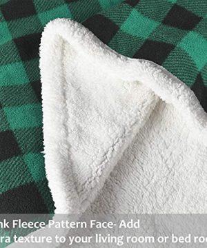 Buffalo Plaid Sherpa Throw TV Blanket 50 X 60 Super Soft Warm Comfy Plush Fleece Bedding Couch Cabin Throw Blanket Green 0 1 300x360