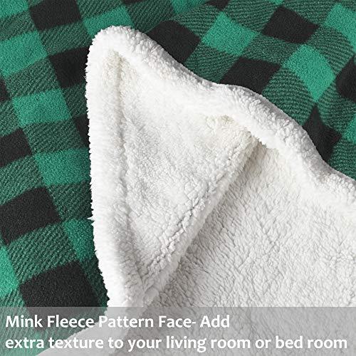 Buffalo Plaid Sherpa Throw TV Blanket 50 X 60 Super Soft Warm Comfy Plush Fleece Bedding Couch Cabin Throw Blanket Green 0 1