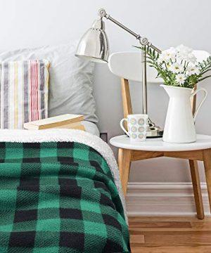 Buffalo Plaid Sherpa Throw TV Blanket 50 X 60 Super Soft Warm Comfy Plush Fleece Bedding Couch Cabin Throw Blanket Green 0 3 300x360