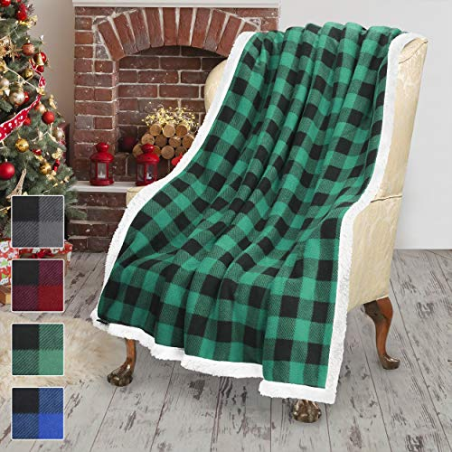 Buffalo Plaid Sherpa Throw TV Blanket 50 X 60 Super Soft Warm Comfy Plush Fleece Bedding Couch Cabin Throw Blanket Green 0