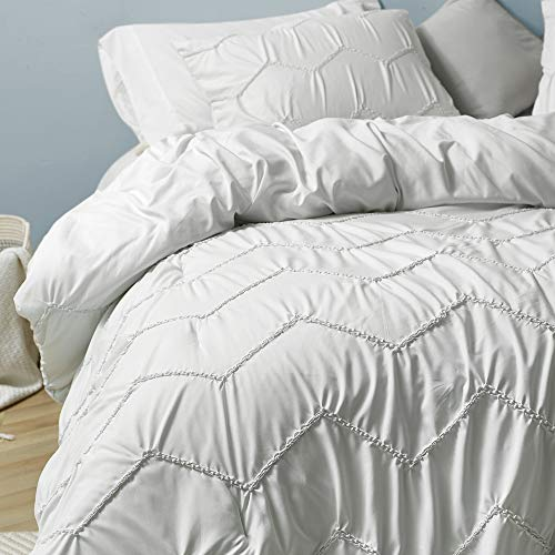 Byourbed Textured Waves Twin XL Comforter Supersoft Farmhouse White 0 0