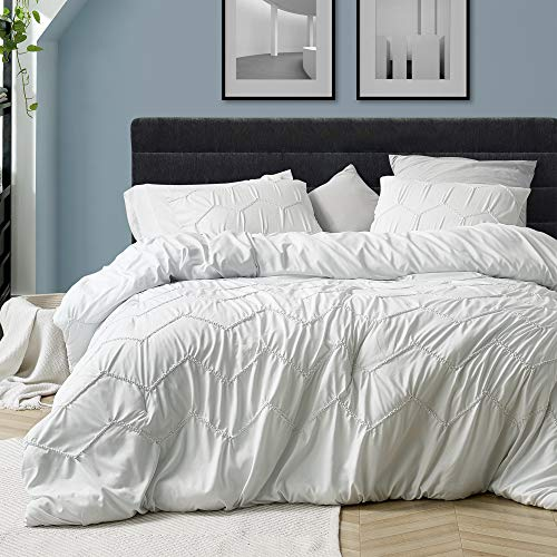 Byourbed Textured Waves Twin XL Comforter Supersoft Farmhouse White 0