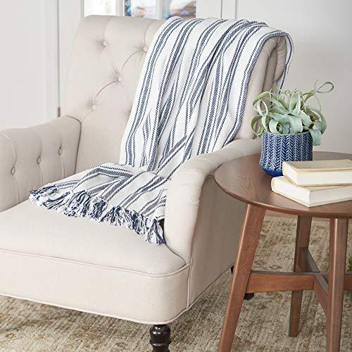 CF Home Ticking Stripe Cotton Throw Blanket Farmhouse Navy 50 X 60 Throw Navy 0 0