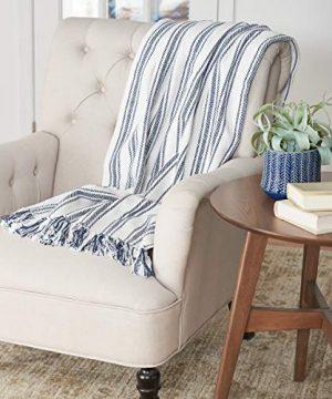 CF Home Ticking Stripe Cotton Throw Blanket Farmhouse Navy 50 X 60 Throw Navy 0 1 300x360