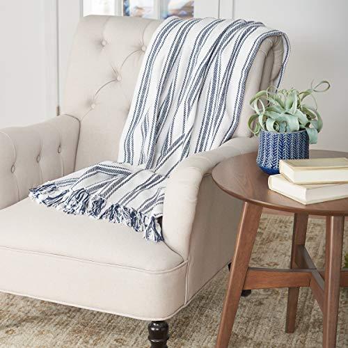 CF Home Ticking Stripe Cotton Throw Blanket Farmhouse Navy 50 X 60 Throw Navy 0 1